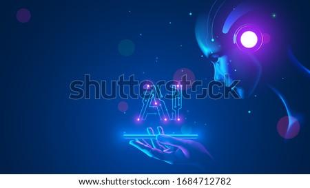 Cyborg woman look at logo AI hanging over phone. Abbreviation AI consists pcb elements.