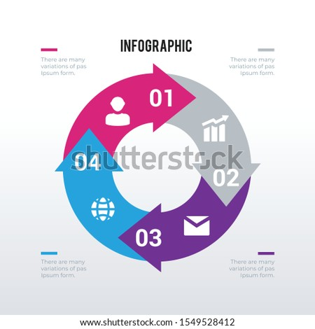 Cycle arrows processed infographics template design. Business concept infograph with 4 options, steps or processes. Vector visualization can be used for workflow layout, diagram, annual report, web