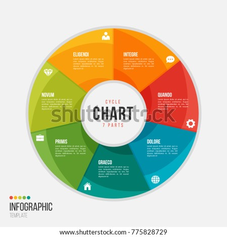 Cycle chart infographic template with 7 parts, options, steps for presentations, advertising, layouts, annual reports