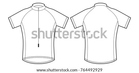 Cycle jersey. Cycling shirt, cyclist shirt sport wear protection equipment vector illustration. Uniform.
