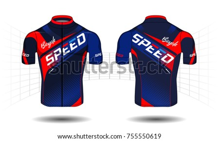 Cycle jersey sport wear protection equipment vector illustration.
