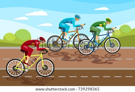 Cycle racing people on bicycles group of cyclists man in road sport background. Group of cyclist at professional race vector