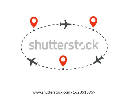 cyclic plane route to and from destinations, isolated vector illustration on white background.