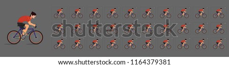 Cycling  animation. Cycle riding animation . Sprite sheet of Cycling. Animation for game or cartoon. Frame by frame animation.