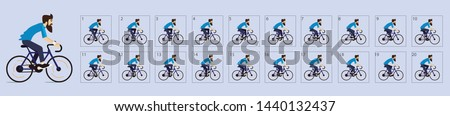 Cycling animation. Cycle riding animation . Sprite sheet of Cycling. Animation for game or cartoon. Frame by frame animation. - Vector