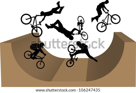 cycling bmx silhouette - stock vector