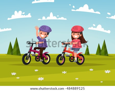 cycling boy and girl go for a