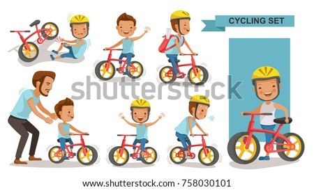 Cycling boy set. Father teaching son. child riding urban bicycle  in helmet. Bike First and Injured leg injury. male road cyclist. Playing the playground. exercise, go to school. Biker culture concept