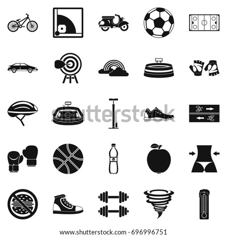 Cycling clothes icons set. Simple set of 25 cycling clothes vector icons for web isolated on white background