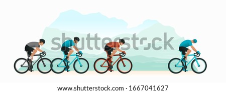 Cycling in nature. Cyclists chase the leader of the race. The head of the peloton. The cyclist looks back at the pursuers. Vector illustration. Foto d'archivio ©