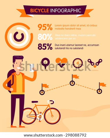Cycling infographic with location, heart bit, speed and destinations signs. Fully editable vector illustration. Perfect for camping info, social network advertising, posters and flayers.