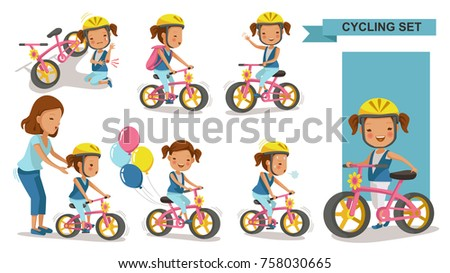 cycling little girl mother