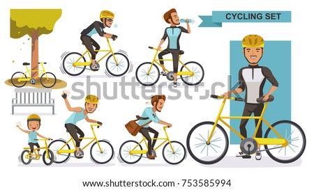 Cycling man set. male road cyclist. city bike Relax in the park, exercise, Go to work. Biker culture concept. cartoon vector