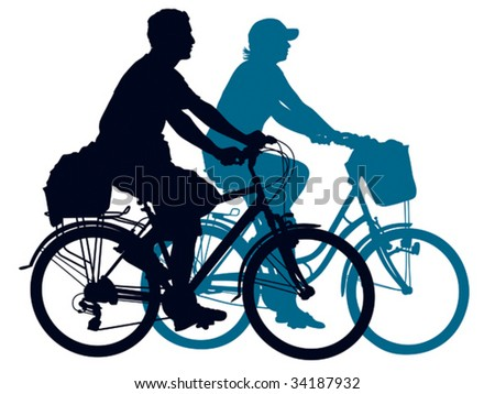 Cycling people on a summer trip. Vector illustration.