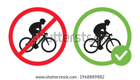 Cycling prohibited and riding bikes allowed vector flat illustration isolated on white background. Cyclist riding on bike icon in crossed out red circle, in green circle. Cycling permit and forbidden. Photo stock ©