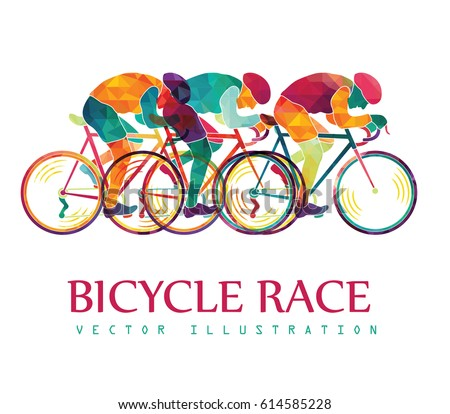 Cycling race colorful background. Cyclists. Bicycles race. Vector illustration