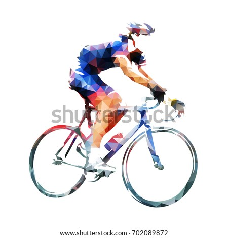 Cycling race, road cyclist in blue jersey, abstract geometric vector silhouette