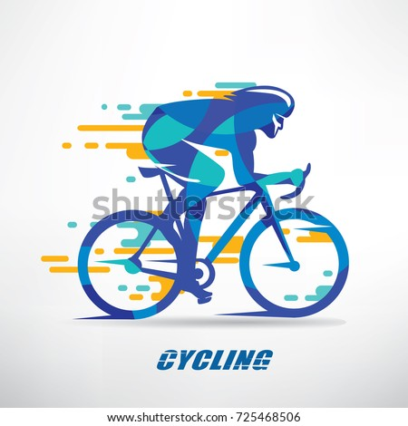 cycling race stylized background, cyclist vector silhouette