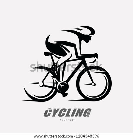 cycling race stylized symbol, outlined cyclist vector silhouette Photo stock ©