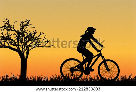 cycling silhouette outdoors
