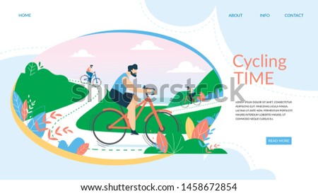 Cycling Time Banner. Biking Competition, Sportsmen Driving Bicycles on Mountain Streamer Route with Seascape Background. Summertime Sports Activity, Healthy Lifestyle Cartoon Flat Vector Illustration,