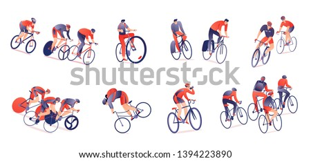 Cycling tour horizontal set of bicyclists with sports equipment in various positions isolated vector illustration