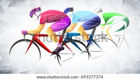 cycling tour, track, bicycle, geometric, cyclist stylized vector, Red, blue