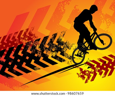 Cyclist abstract background, vector illustration - stock vector