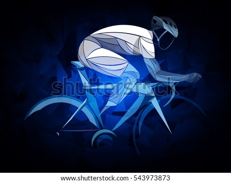 cyclist, cycling blue, white, geometric, cyclist stylized vector, road cycling, cycling tour, cycling track, bicycle