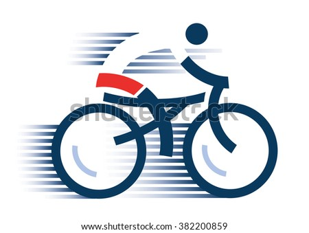cyclist icon abstract stylized