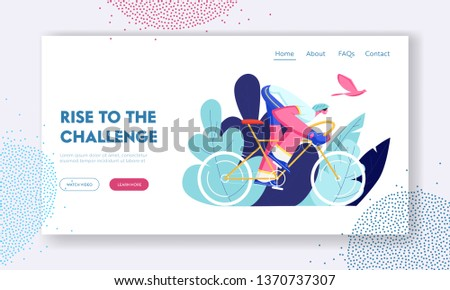 Cyclist Riding Bike Outdoors in Summer Day. Bicycle Man Active Sport Life and Healthy Lifestyle, Bike Rider in Race Competition Website Landing Page, Web Page. Cartoon Flat Vector Illustration, Banner