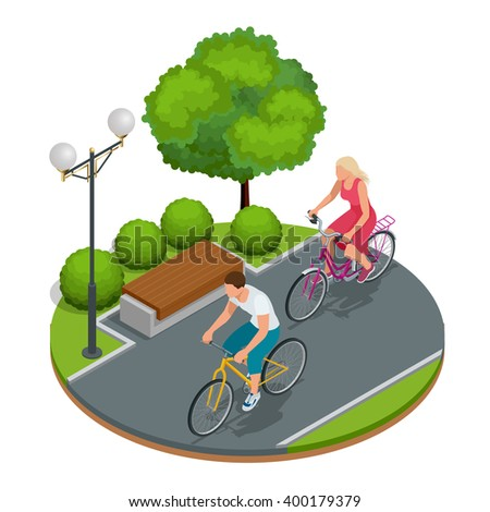 Cyclists on bicycle. Riding bicycle outdoors at summer. Bicycle and bicycling. Fitness, sport, people and healthy lifestyle concept. Flat 3d vector isometric illustration