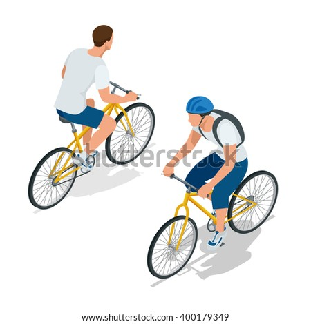 Cyclists on bicycle. Riding bicycle outdoors at summer. Fitness, sport, people and healthy lifestyle concept. Flat 3d vector isometric illustration