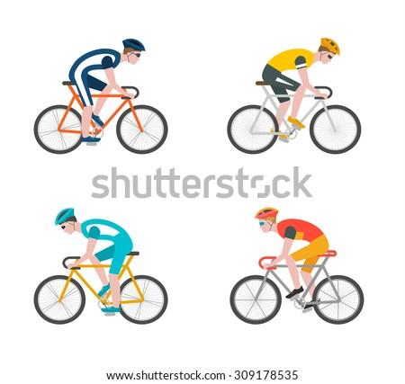 cyclists on bikes  icons set