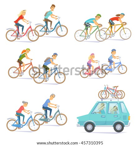 cyclists on bikes set people