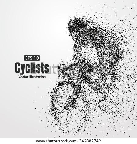 Cyclists, particle divergent composition, vector illustration.