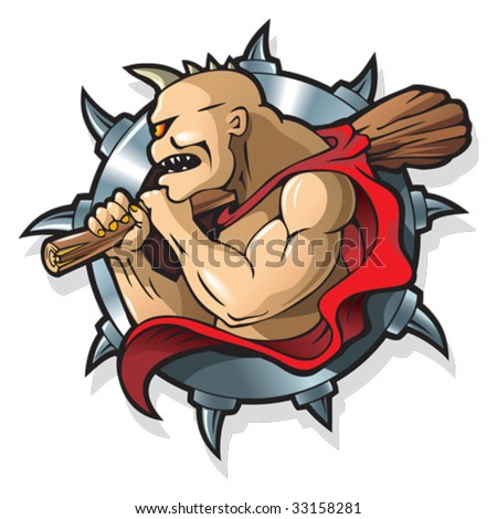 Cyclop Polyphemus, single eyed creature from Greek mythology, defeated by Odysseus, against a backdrop of metal blade wheel or frame, vector illustration