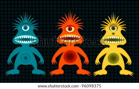 cyclops monsters in three colors