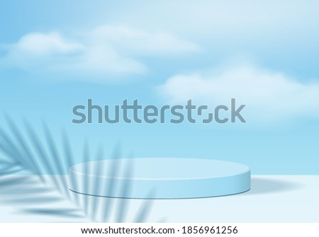 Cylinder abstract 3d scene with leaf sky podium platform. Background sky vector 3d rendering with podium. stand to show cosmetic product in studio. Stage showcase on pedestal 3d studio blue sky podium