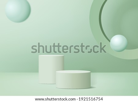 Cylinder abstract minimal scene with geometric platform. Summer background vector 3d rendering with podium. stand to show cosmetic products. Stage showcase on pedestal modern 3d studio green pastel