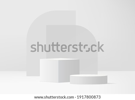 Cylinder abstract minimal scene with geometric platform. White background vector 3d rendering with podium. stand to show cosmetic products. Stage showcase on pedestal modern 3d studio gray pastel