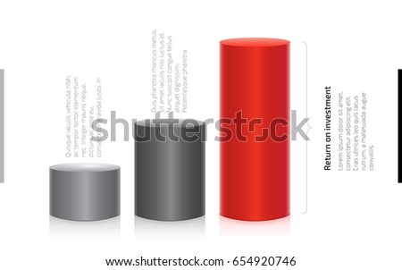 Cylinder Chart of Finance. Return on investment diagram. Red and gray 3d cylindrical chart of investments and profits. Financial data presentation template. Vector illustration