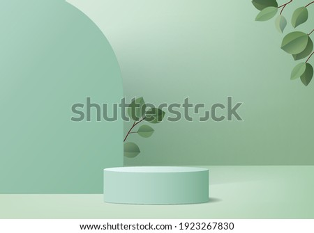 Cylinder display abstract minimal scene with leaf geometric platform. background vector 3d rendering with podium. stand to show cosmetic products. Stage showcase on pedestal modern 3d studio green