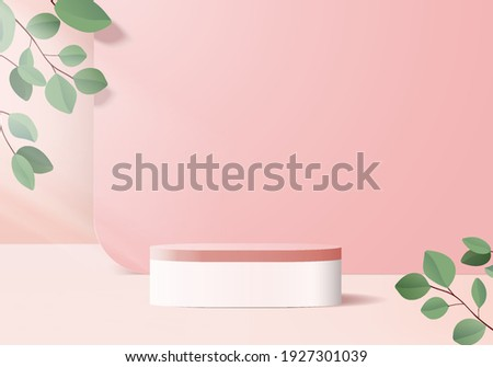Cylinder display abstract minimal scene with leaf geometric platform. background vector 3d rendering with podium. stand to show cosmetic products. Stage showcase on pedestal modern 3d pink studio