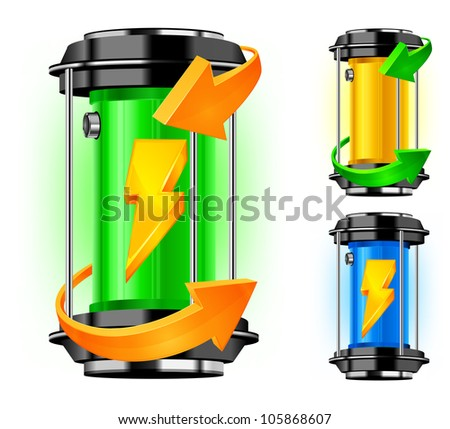 Cylinder of alternative energy in green color and arrows, vector illustration