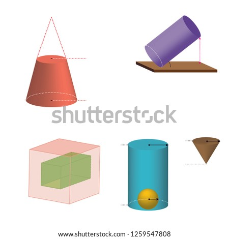 cylinder, sphere, cube, pyramid shapes. geometric shapes concept design - Vektör
