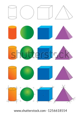 cylinder, sphere, cube, pyramid shapes. geometric shapes set vector