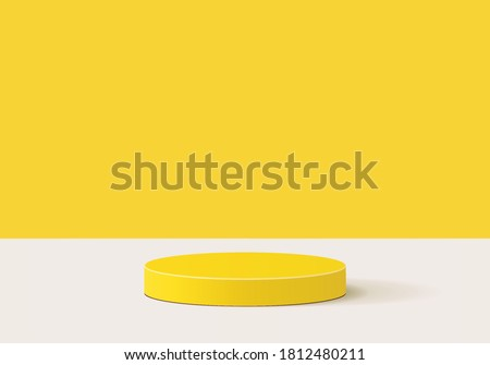 Cylinder yellow background minimal scene with yellow geometric platform. Summer background vector 3d rendering with podium. stand for products. Stage Showcase on pedestal 3d yellow background studio