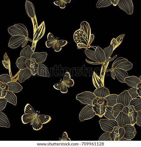 cymbidium orchids pattern by...