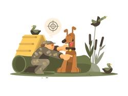 Cynologist training hunting dog